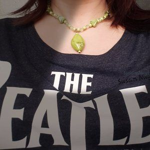 19-Inch Lime Green Rock & Lucite Necklace